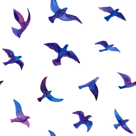 Illustration pour Seamless background with hand drawn watercolor birds flock. - image libre de droit
