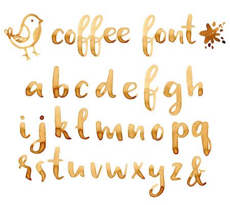 Ilustración de Creative hand drawn coffee stains font for your design. - Imagen libre de derechos