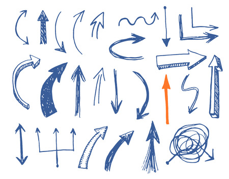 Illustration for Hand drawn vector arrows set. Vector EPS. - Royalty Free Image