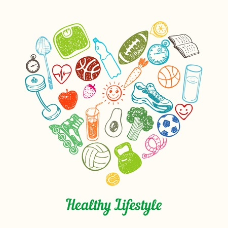 Foto de Healthy Lifestyle Background. Hand drawn Icons set in the shape of heart - Imagen libre de derechos