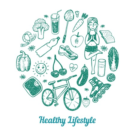 Foto für Healthy Lifestyle Background. Hand drawn Icons set. - Lizenzfreies Bild