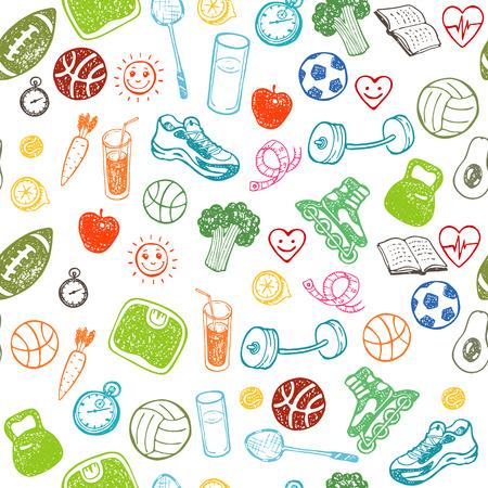 Foto de Healthy Lifestyle. Hand drawn seamless pattern. Healthy food, sport and fitness themes. - Imagen libre de derechos