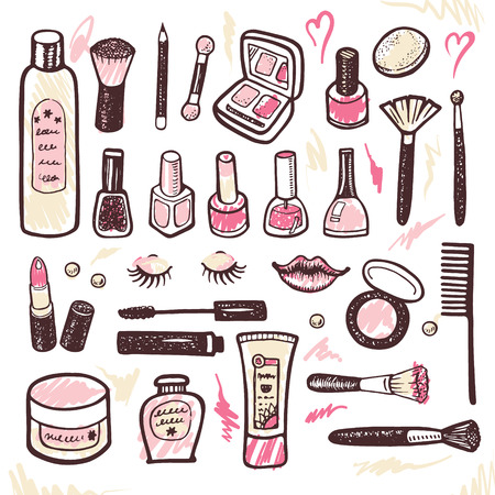 Illustration pour Hand drawn collection of make up and cosmetics illustration - image libre de droit
