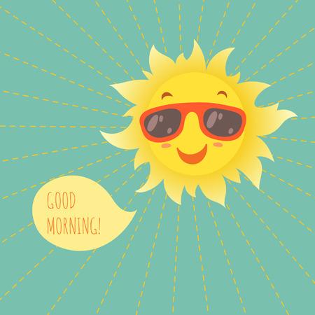 Illustration for Happy smiling summer sun in glasses. Vector illustration. - Royalty Free Image
