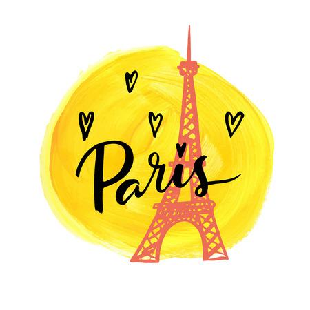 Illustration pour I love Paris. Hand drawn calligraphic card. - image libre de droit
