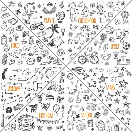 Illustration pour Mega doodle design elements vector set. travel, childhood, sport, school, birthday, arrows, food. - image libre de droit