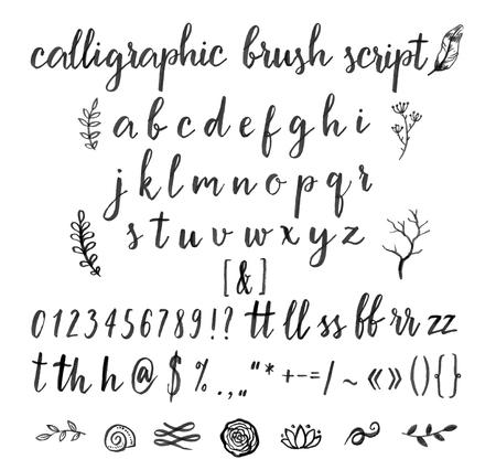 Ilustración de Calligraphic vector font with numbers, ampersand and symbols. - Imagen libre de derechos