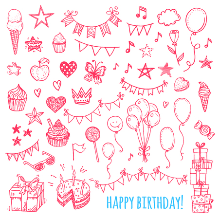 Illustration pour Hand drawn happy birthday party icons. Cakes, sweets, balloons, bunting flags. - image libre de droit