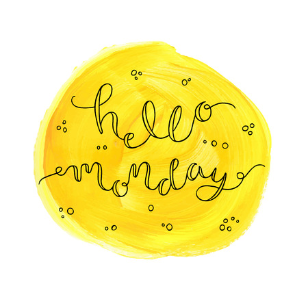 Illustration for Hello Monday! Hand drawn calligraphic card. - Royalty Free Image