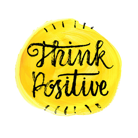 Illustrazione per Think Positive.  Hand lettering quote on a rainbow vector background - Immagini Royalty Free