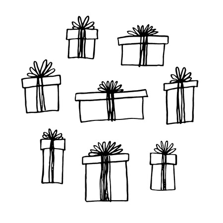 Illustration for Hand drawn gift boxes set. - Royalty Free Image
