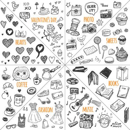 Illustration pour Mega doodle design elements vector set. Hand drawn illustrations: photo, sweets, books, hearts, Valentine`s day, music, fashion clothes, coffee. - image libre de droit