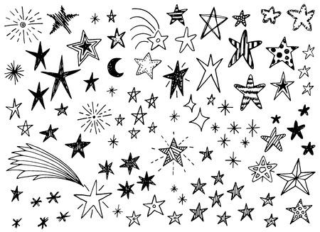 Ilustración de Hand drawn doodle stars vector collection - Imagen libre de derechos