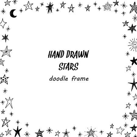 Illustration pour Hand drawn doodle stars square frame - image libre de droit