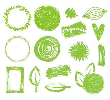 Illustration pour Hand drawn vector green frames set. Eco, bio, organic logo design - image libre de droit