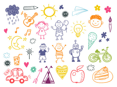 Illustration pour Happy kids doodle set, children drawings - image libre de droit