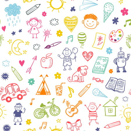 Illustration pour Seamless pattern with doodle children drawing. - image libre de droit