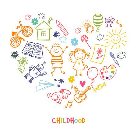 Illustration pour Happy childrens drawing vector doodle heart - image libre de droit