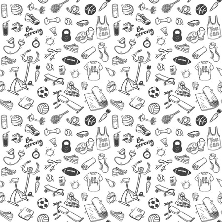 Photo pour Seamless pattern  with sport and healthy lifestyle elements - image libre de droit