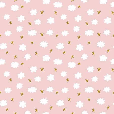 Illustration pour Cute seamless pattern with stars and clouds - image libre de droit
