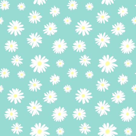 Illustration pour Cute seamless pattern with white chamomiles on a pastel blue background - image libre de droit