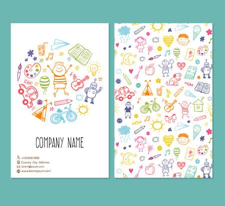 Illustration pour brochure template with doodle children drawing - image libre de droit