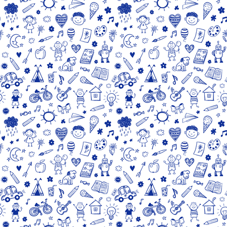 Illustration pour Seamless pattern with doodle children drawing. Hand drawn funny background - image libre de droit