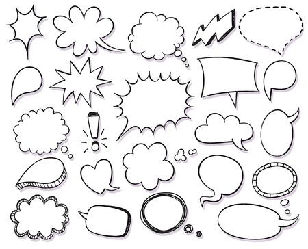 Illustration pour Hand drawn vector sketch speech bubbles set - image libre de droit