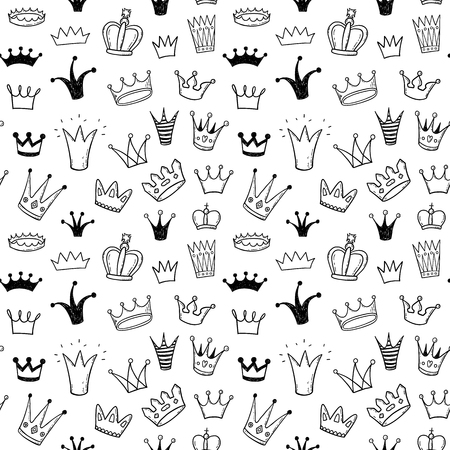Illustration for Hand drawn princess crowns doodle seamless pattern - Royalty Free Image