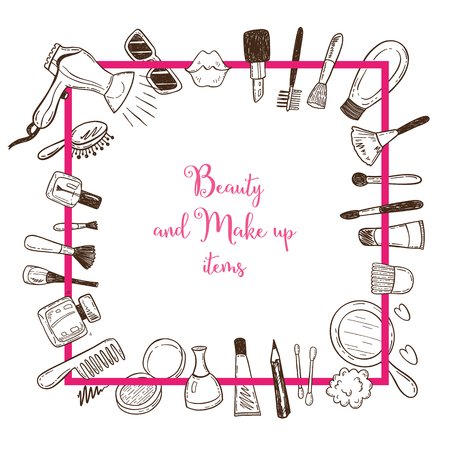 Illustration pour Beauty and make up items in a square frame with doodle cosmetics. - image libre de droit