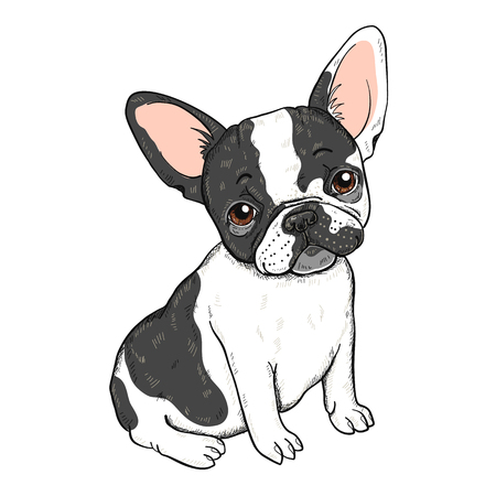 Ilustración de Vector illustration of cute cartoon French bulldog isolated on a white background - Imagen libre de derechos