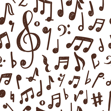 Illustration for Seamless pattern design with hand drawn musical notes - Royalty Free Image