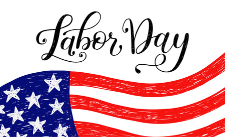 Illustration pour Vector Illustration Labor Day a national holiday of the United States. American Happy Labor Day Sale poster with hand written calligraphic phrase. - image libre de droit