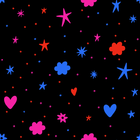Illustration pour Seamless vector pattern with bright colorful stars, clouds and hearts. Retro background. - image libre de droit