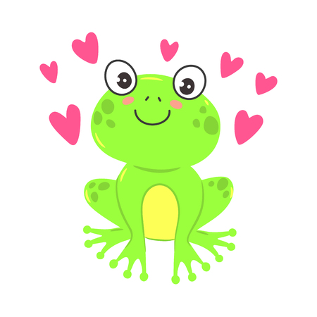 Illustration for Vector illustration of a cute cartoon frog. T-shirt graphics for kids - Royalty Free Image