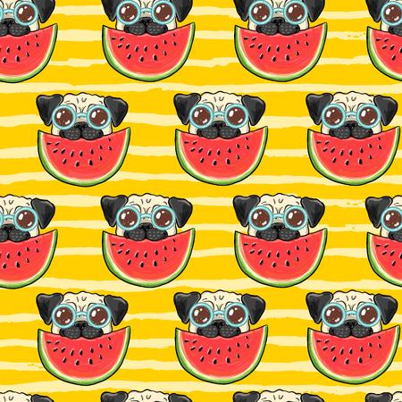 Ilustración de Seamless summer vector background pattern with funny pug dog in sunglasses eating watermelon - Imagen libre de derechos