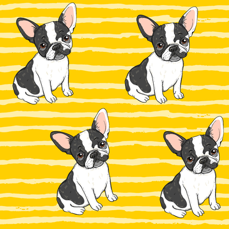 Illustration pour Seamless vector background pattern with funny french dog - image libre de droit