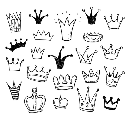 Illustration pour Hand drawn doodle princess crowns set - image libre de droit