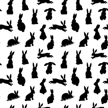 Illustration pour Seamless vector background with black easter rabbits silhouettes on a white background - image libre de droit
