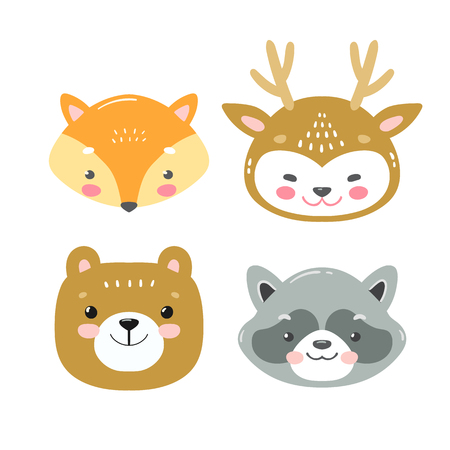 Illustration pour Set of vector woodland animals in cartoon style. Cute smiley fox, deer, bear and racoon faces - image libre de droit