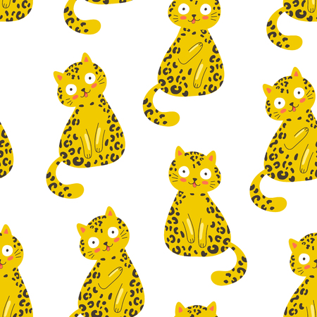 Illustration pour Seamless vector pattern with funny leopard cat on a white background, fashion trendy print, t shirt, surface design - image libre de droit