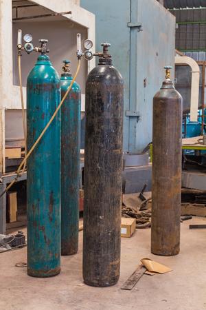 Compressed gas argon or carbon dioxide or oxygen steel cylinders for welding in metal workshop
