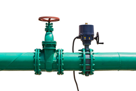 Photo pour Combination of manual operated gate valve and quarter-turn electrical actuator operated valve in water pipeline for water treatment system, isolated on white background with clipping path - image libre de droit