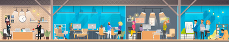 Illustrazione per Coworking Space with Working Together Freelance Coworkers and Business People Flat Vector Concept. Modern Office Workspace with Comfortable for Business Activity Locations and Environment Illustration - Immagini Royalty Free