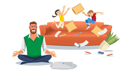 Ilustración de Father in a state of stress with playing children. Home stress concept with cartoon characters isolated white background. Vector illuctration of parent and children at living room. - Imagen libre de derechos