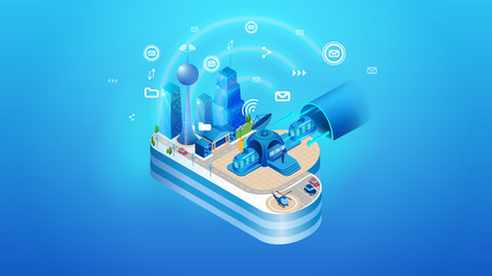 Illustrazione per The concept of intelligent smart cloud city. Isometric projection of vector illustration of cloud management system of an intelligent city with buildings and infrastructure. - Immagini Royalty Free