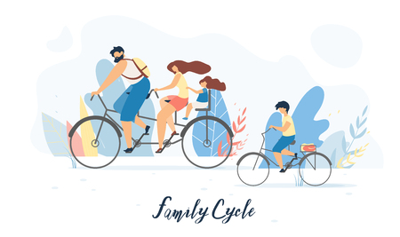 Ilustración de Family Cycle Flat Vector Banner, Poster with Father and Mother Riding Tandem Bicycle with Daughter Sitting on Child Bike Seat Behind, Son Cycling Beside Illustration. Family Outdoor Activity Concept - Imagen libre de derechos