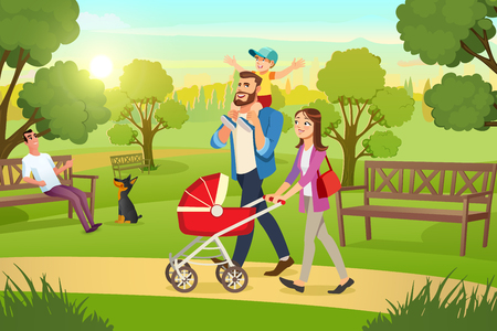 Ilustración de Happy Young Family Strolling in City Park at Sunny, Summer Day Cartoon Vector. Mother Walking with Red Pram, Father Riding Son on Shoulders Illustration. Millennial Parents Spending Time with Children - Imagen libre de derechos