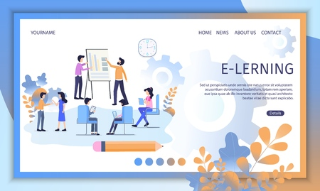 Illustrazione per E-Learning Courses, Distant Education Service Flat Vector Web Banner. Businesspeople or Students Teaching Together, Doing Lessons in Virtual Class Illustration. Online University Landing Page Template - Immagini Royalty Free