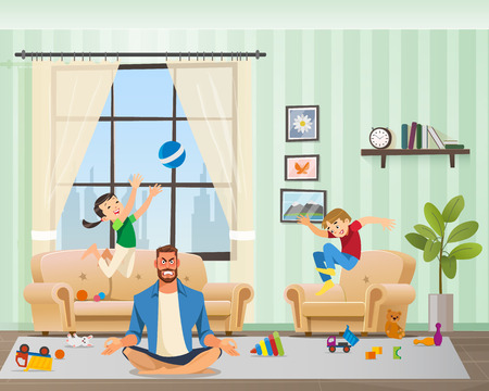 Ilustración de Anfry Father Meditating, Children Playing Around. Man Character with Clenched Teeth Calming Down in Yoga Position. Naughty Kid Jumping with Ball and Making Mess at Home. Cartoon Vector Illustration - Imagen libre de derechos